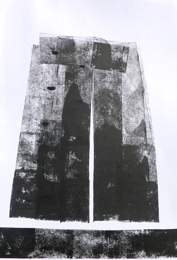Sera James Irvine, Cloud passing over a hill. Ink 84cm x 60cm