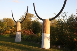 Samson and Goliath after Harland and Wolf. Wood and cast iron sculpture