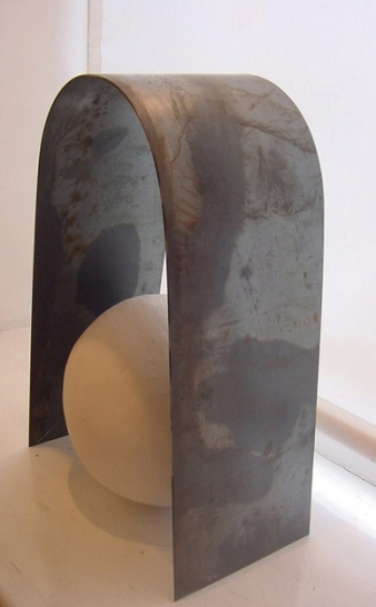 Clay and steel sculpture.