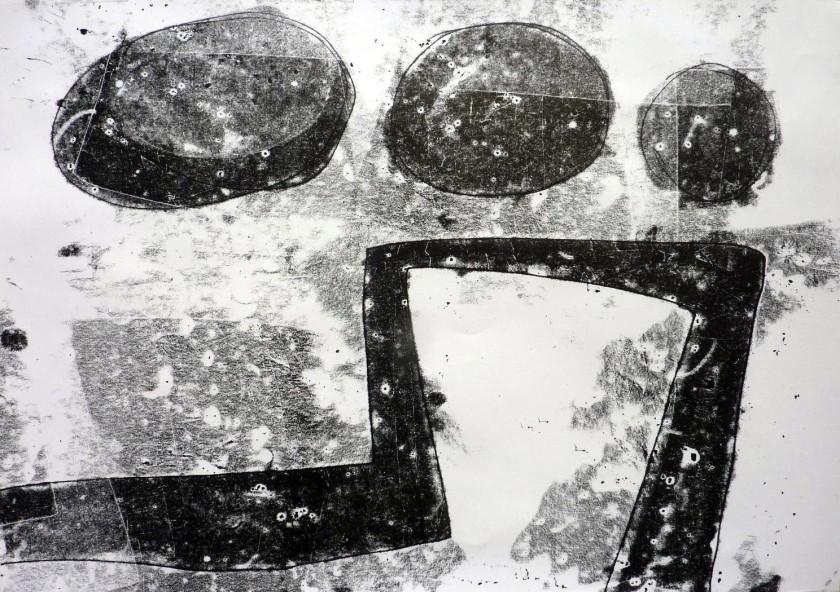 Sera James Irvine, Clouds and river. Ink. 84cm x 60cm.