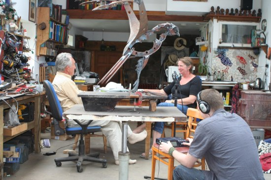 Julian Spalding and Helen Denerley in artist's studio.