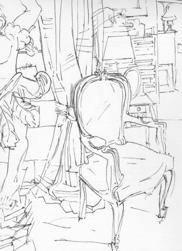 Interiors _Chair drawing 1_Chair interiors_vintage fabrics_chair drawings_ink_ monoprint drawing_Sera_James_Irvine.