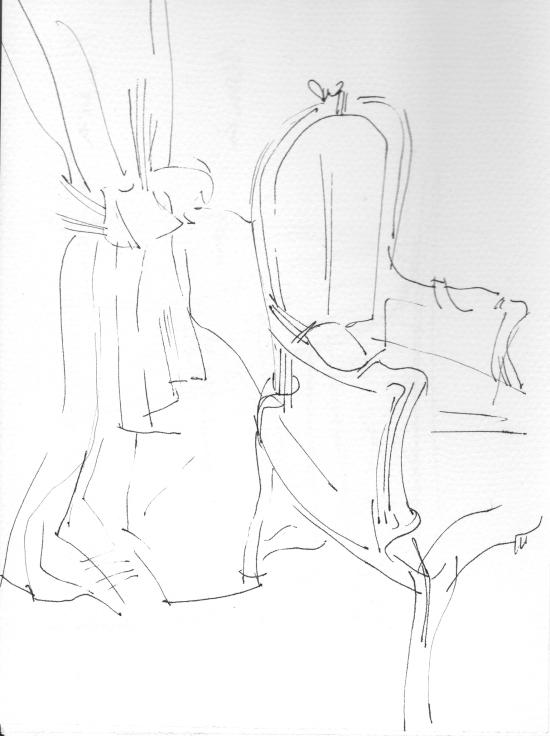 Interiors _Chair drawing_Chair interiors_vintage fabrics_chair drawings_ ink_ monoprint_ drawing_Sera_James_Irvine.