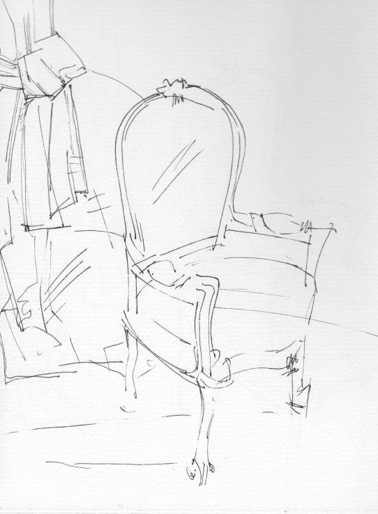 Interiors _Chair drawing_Chair interiors_vintage fabrics_chair drawings_ink_ monoprint drawing_Sera_James_Irvine