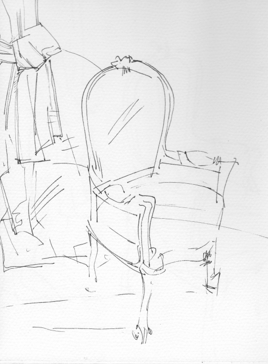 Interiors _Chair drawing_Chair interiors_vintage fabrics_chair drawings_ink_ monoprint drawing_Sera_James_Irvine