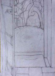 Back door with apple trees, Pencil. 30cm x 21cm