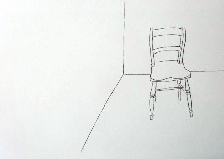 Single chair in corner Ink. 42cm x 60cm. £350.