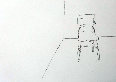 Single chair in corner Ink. 42cm x 60cm. £350.