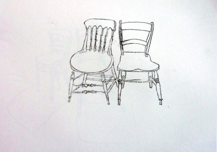 Two chairs. Ink. 42cm x 60cm. £350.