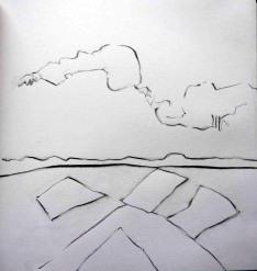 Clouds over muirburn. Pencil. 24cm x 22cm. SOLD.