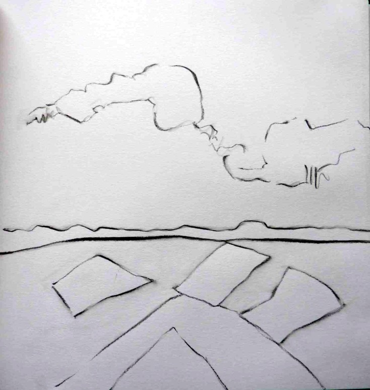 Clouds over muirburn. Pencil. 24cm x 22cm. SOLD.