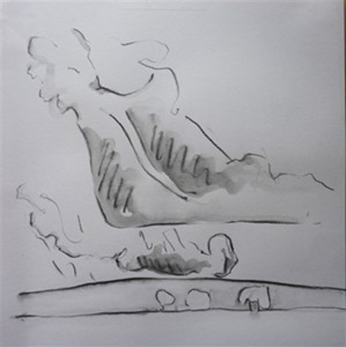 Clouds over hill. Pencil. 24cm x 22cm. SOLD.