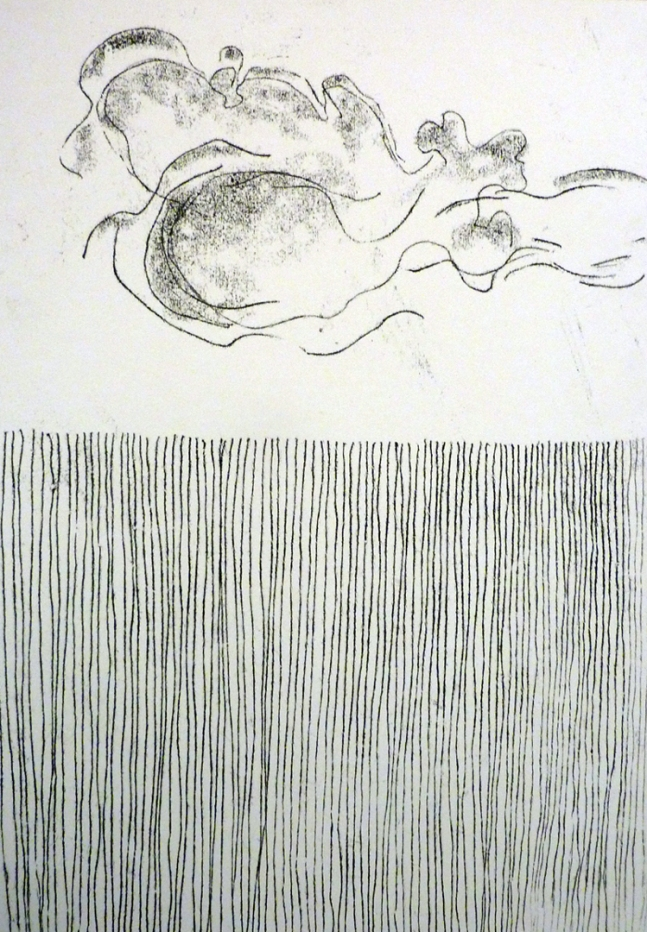 Cloud passing over a fence. Ink. Monotype. 60cm x 42cm.