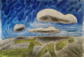 Clouds and muirburn. Mixed media. NFS