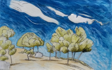 montejaque_trees-and-sky-mirador-spain-spanish-trees-sky_tree-paintings_-mixed-media-painting-sera-james-irvine