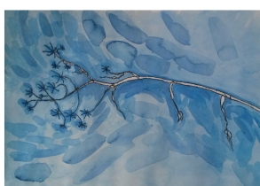 View from a hammock. Ink and watercolour. SOLD