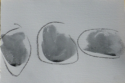 Three clouds. Ink and watercolour. SOLD