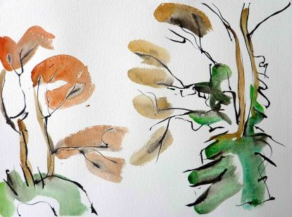 Welsh trees with ivy. Ink and watercolou. 28cm x 38cm £195.